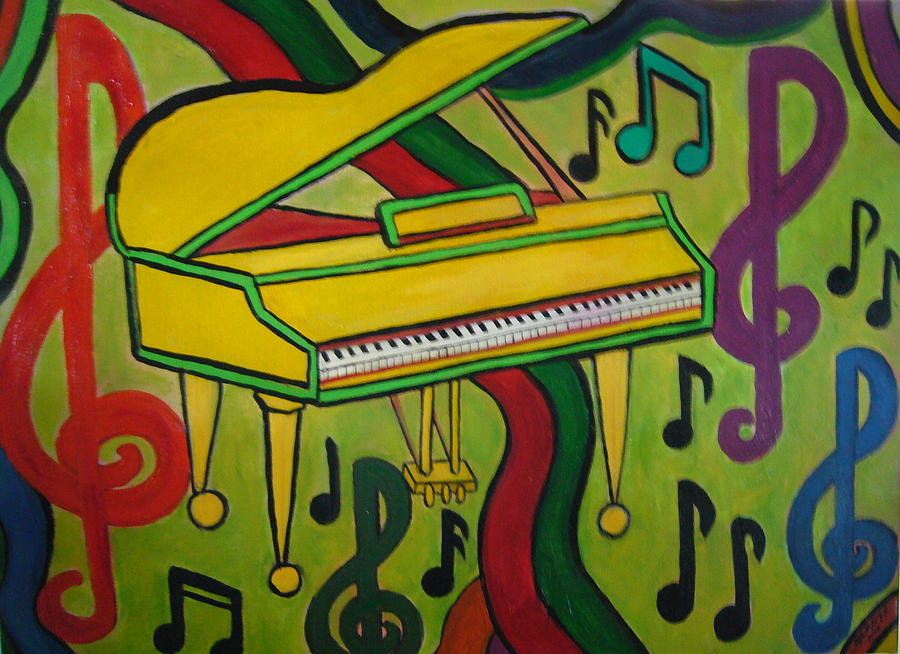 Colorful Grand Piano Painting By Gladys Childers