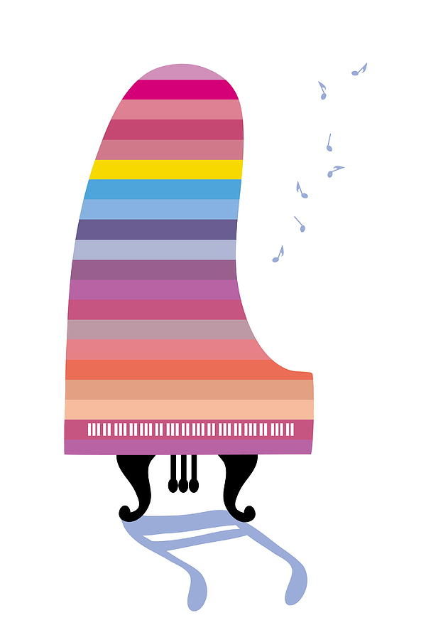 Colorful Grand Piano Playing Music Digital Art by Meg Takamura