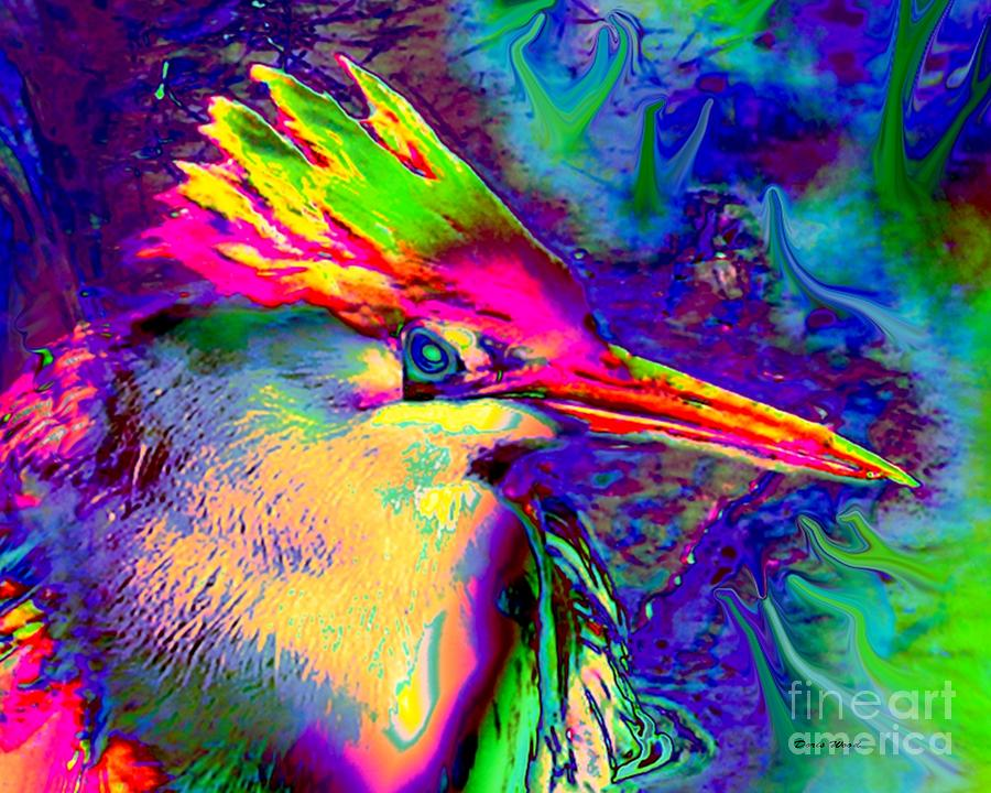 Heron Digital Art - Colorful Heron by Doris Wood