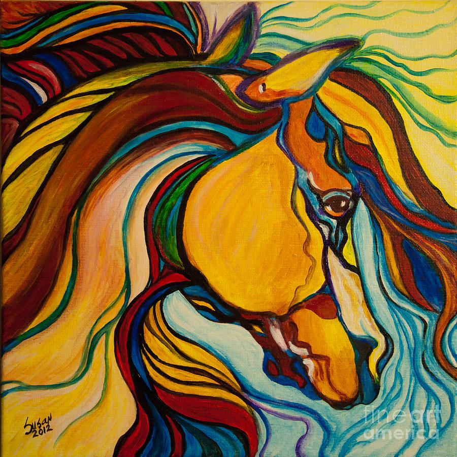 Colorful Horse Painting By Susan Cliett