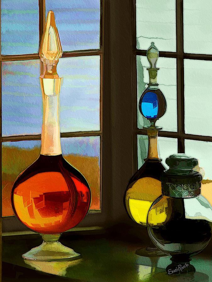 Window Painting - Colorful Old Bottles by Suni Roveto