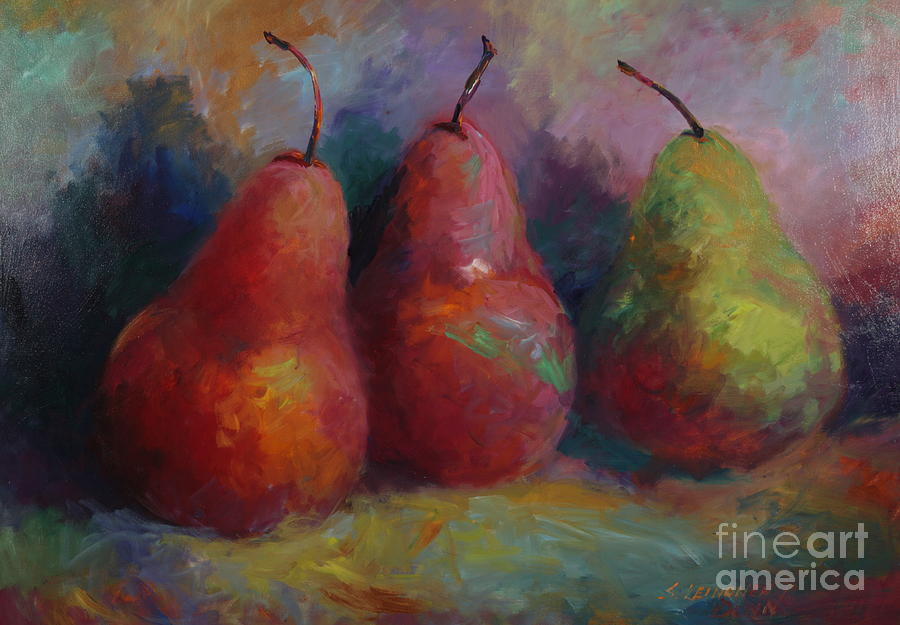 Pears Painting - Colorful Pears by Sandra Leinonen Dunn