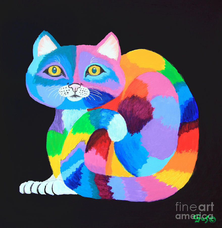 Colorful Rainbow Cat Painting By Nick Gustafson