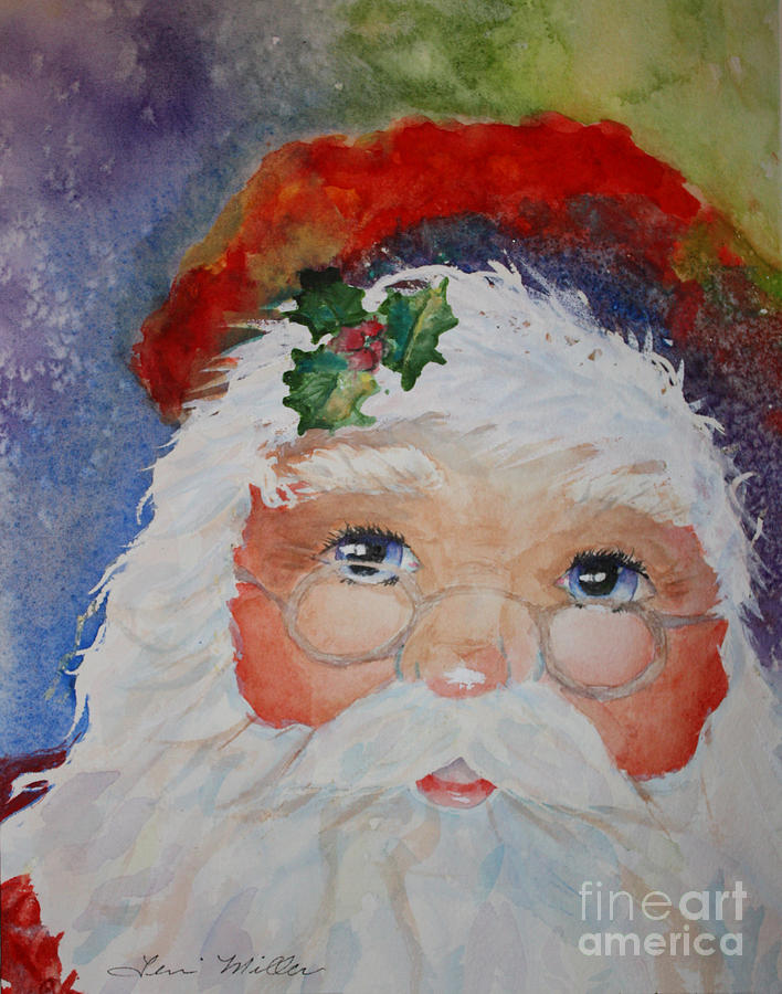 Christmas Painting - Colorful Santa by Terri Maddin-Miller