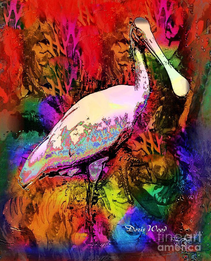 Roseate Spoonbill Digital Art - Colorful Spoonbill by Doris Wood