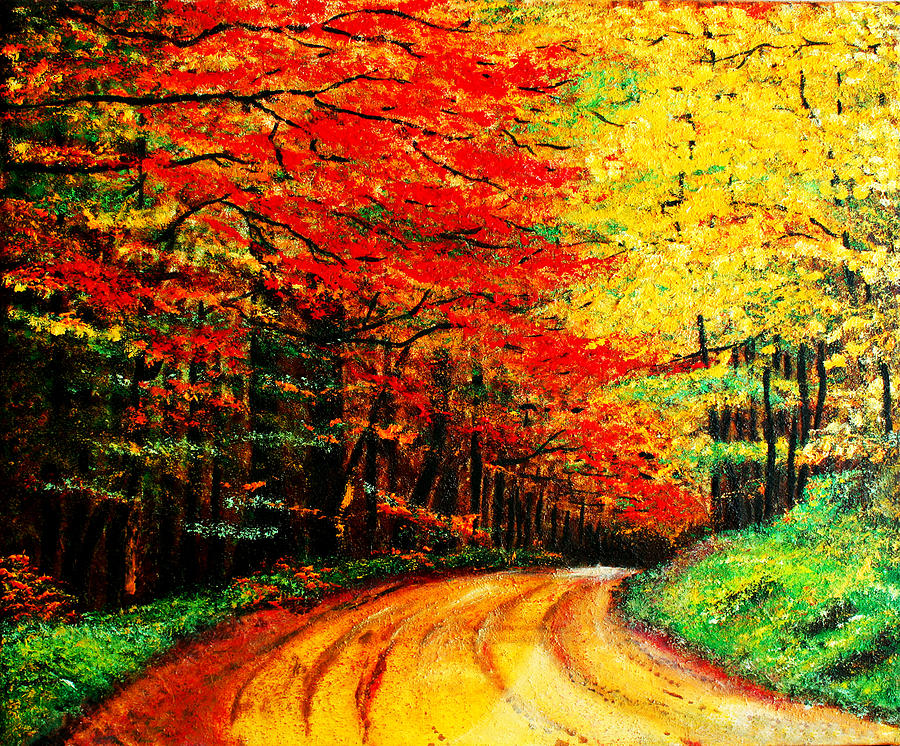 Landscape Painting - Colorful Tree Leaves by Nelson