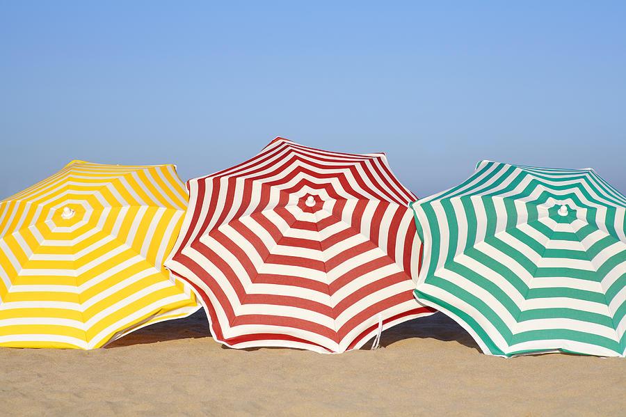 Horizontal Photograph Colorful Umbrellas On Beach By Leila Mendez