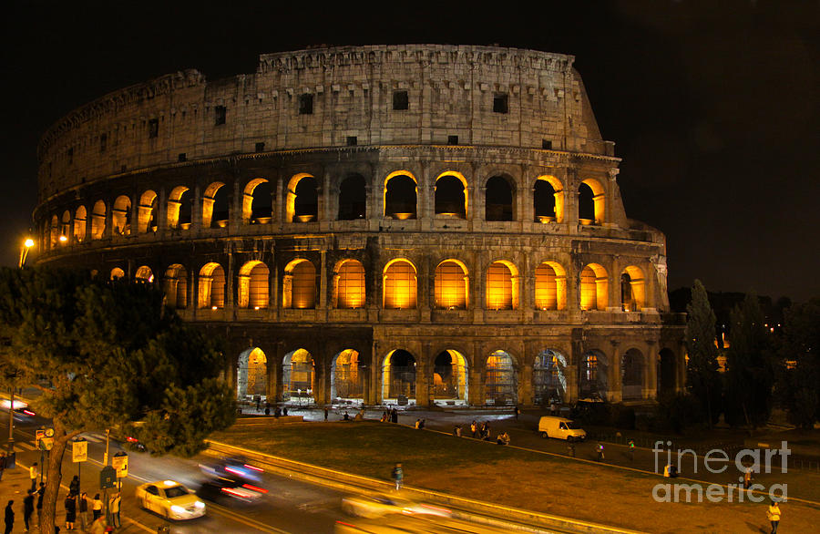 Colosseum Photograph - Colosseum By Night by Chris Hill