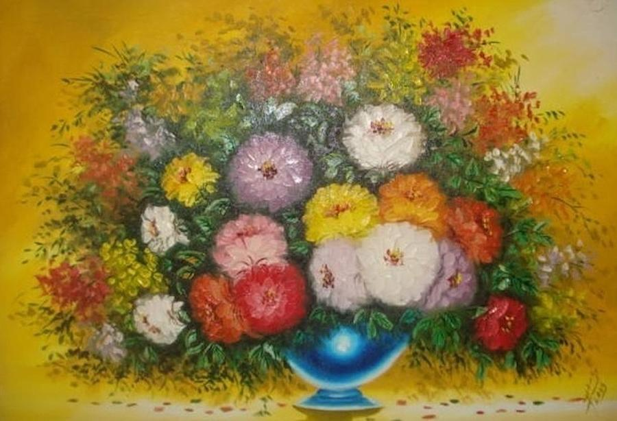 Colourful Flowers Painting - Colourful Flowers  by Pretchill Smith