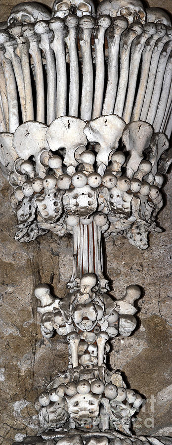 Ossuary Photograph - Column From Human Bones And Sku by Michal Boubin