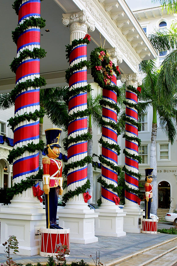 travel photograph columns in christmas wrap by linda phelps - Christmas Column Decorations