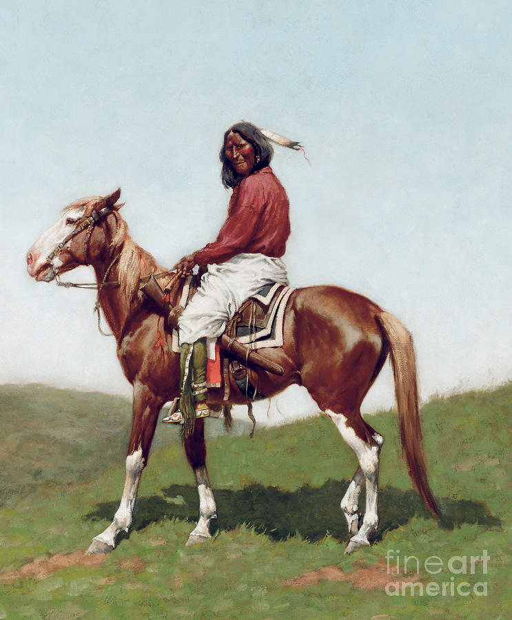 Fort Reno Painting - Comanche Brave by Frederic Remington