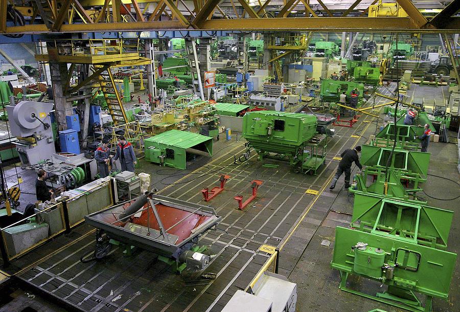 Equipment Photograph - Combine Harvester Production Line by Ria Novosti