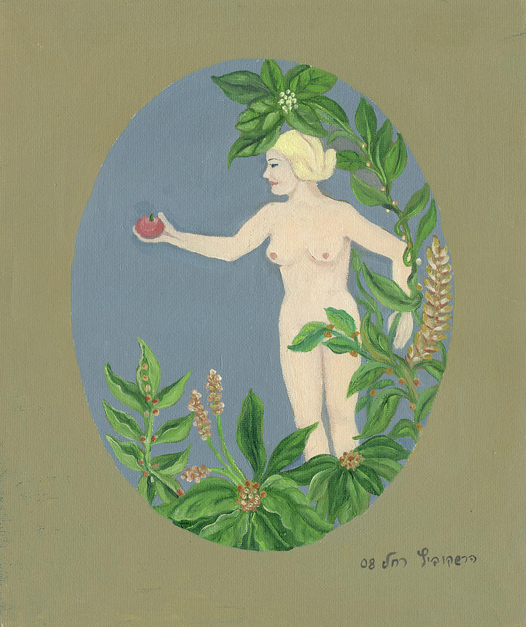 Come Painting - Come And Get It Eva Offers A Red Apple  To Adam In Green Vegetation Leaves Plants And Flowers Blond  by Rachel Hershkovitz
