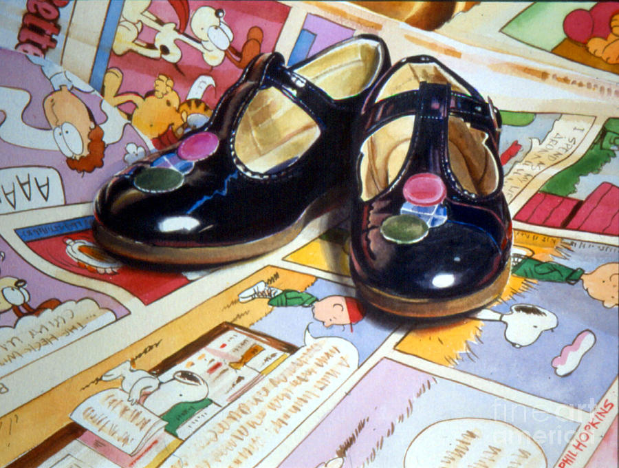 Shiny Painting - Comic Shoes by Phil Hopkins