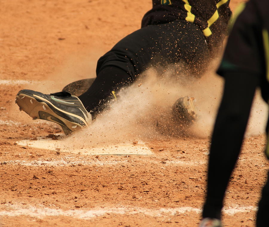 Softball Photograph - Coming Home With A Slide by Laddie Halupa