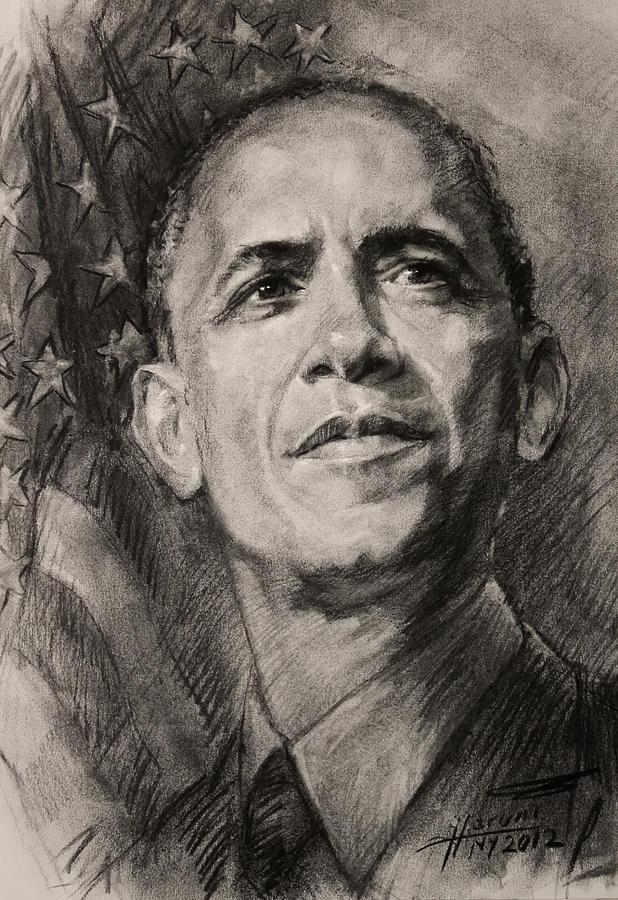 Barack Obama Drawing - Commander-in-chief by Ylli Haruni