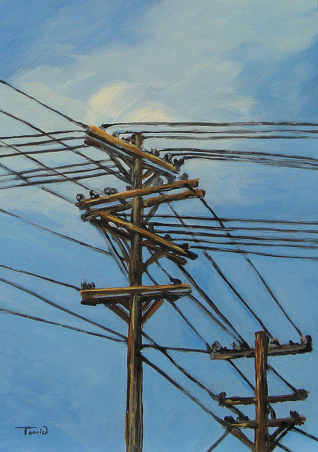 Power Lines Painting - Communication by Torrie Smiley