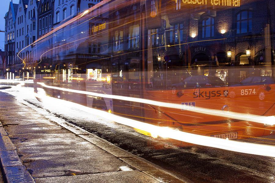 Dark Photograph - Commuter Bus by A A