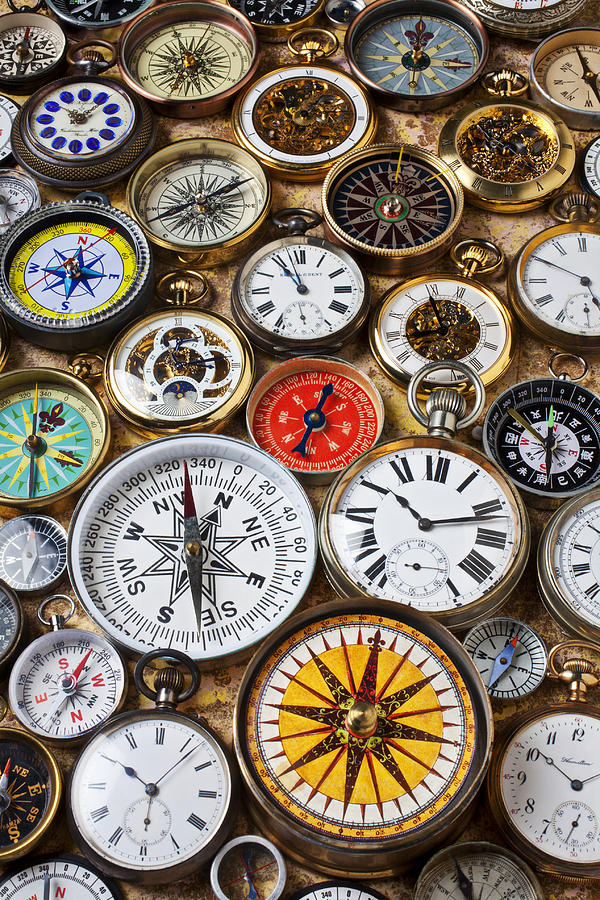 Watch Photograph - Compases And Pocket Watches  by Garry Gay