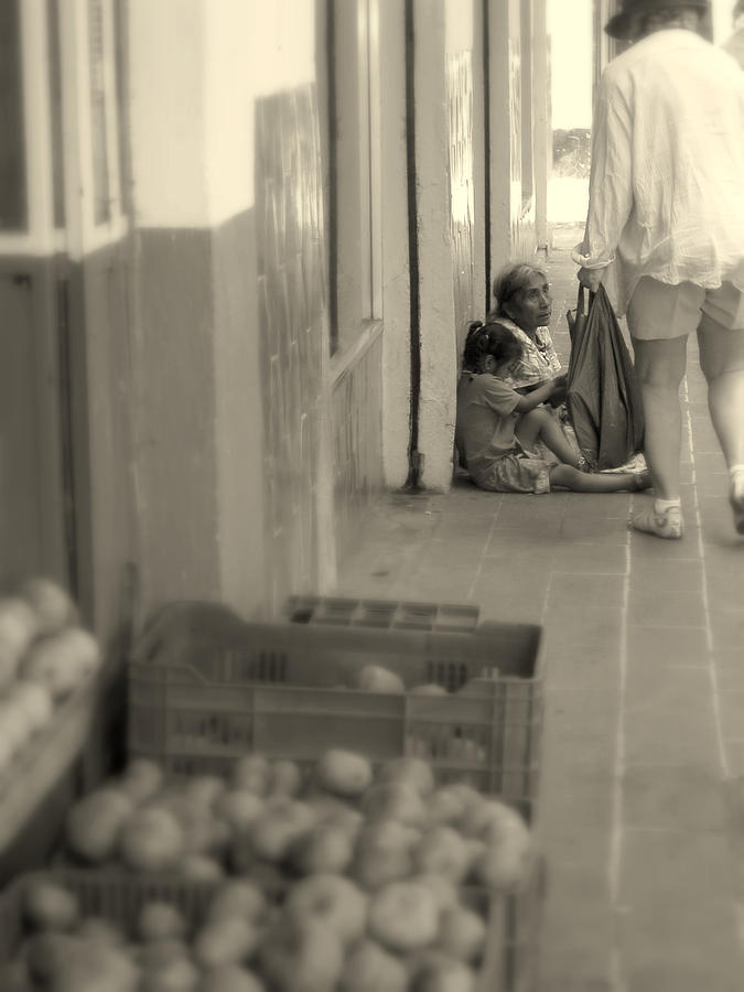 Black White Photograph - Compassion For The Poor by Cindy Wright