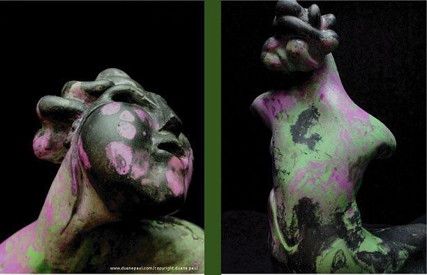 Figurative Sculpture - Compensation-black-lavender-green by Duane Paul
