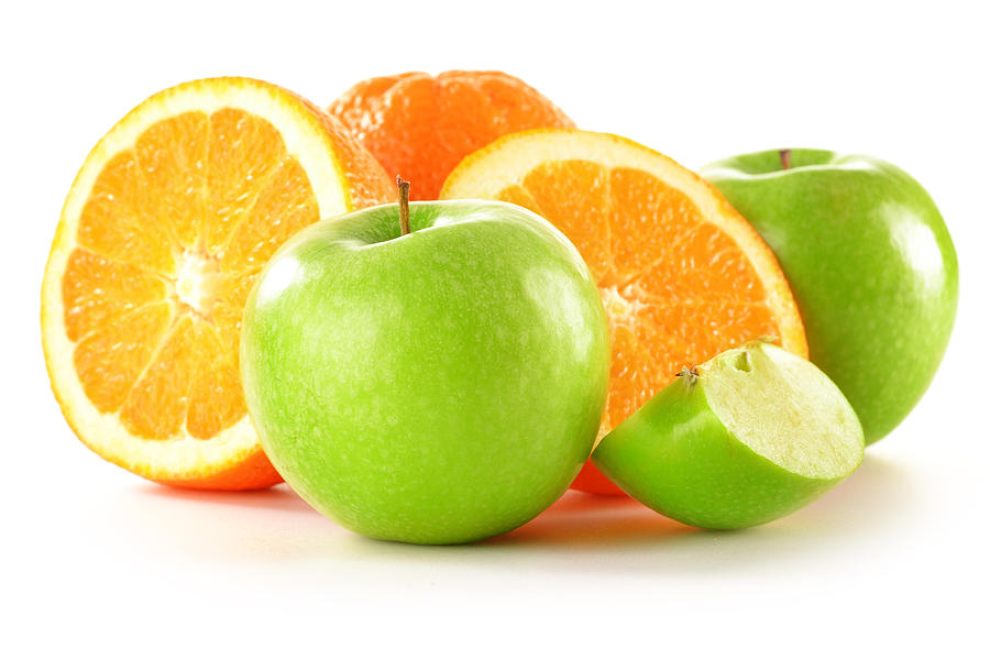 Apple Photograph - Composition with apples and oranges isolated on white by T Monticello