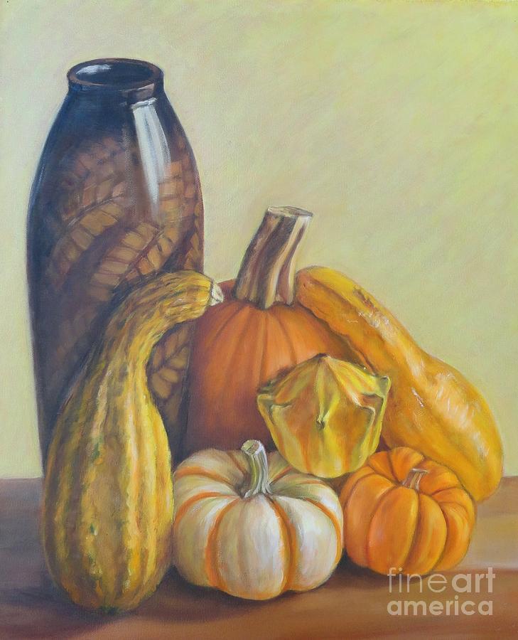 Pumpkins Painting - Composition by Ziba Bastani
