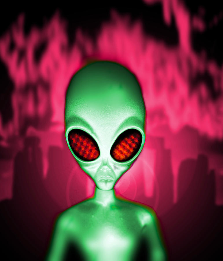 Alien Photograph - Computer Artwork Of An Alien Or Extraterrestrial by Victor Habbick Visions