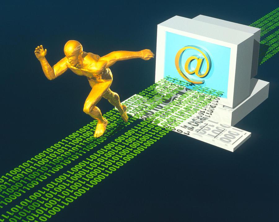 Sprinter Photograph - Computer Artwork Of E-mail As A Sprinter by Laguna Design