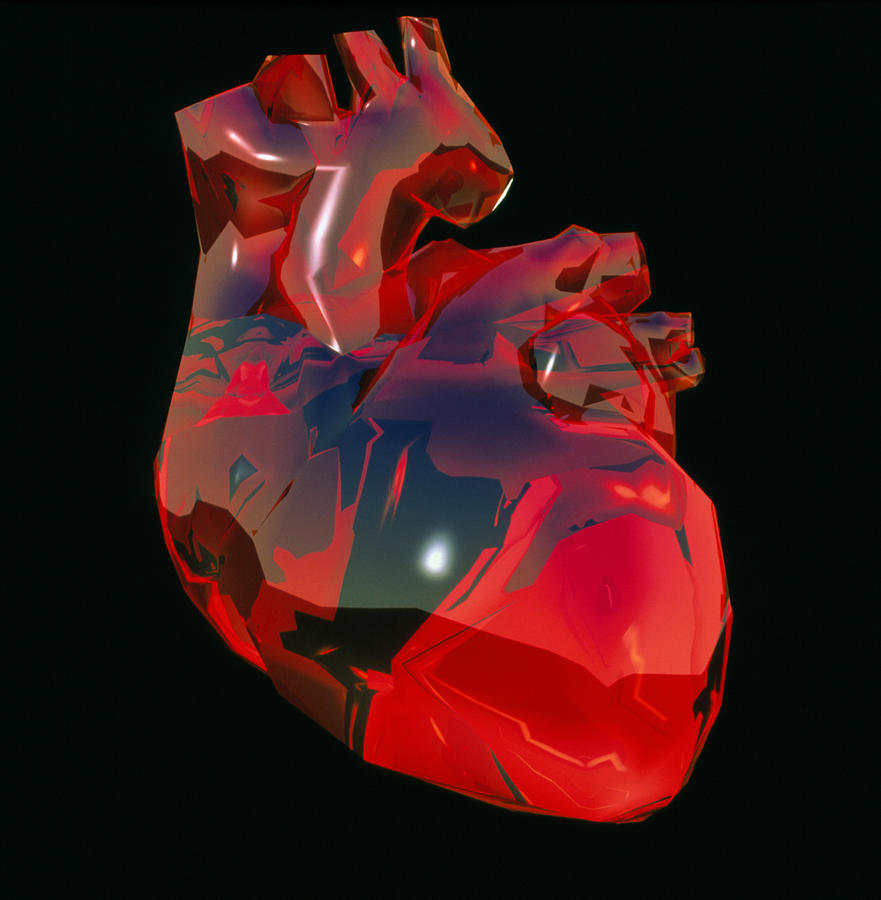 Computer Artwork Of Human Heart Abstract Colours