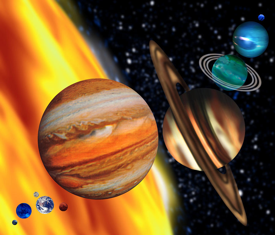 Solar System Photograph - Computer Artwork Showing Relative Sizes Of Planets by Victor Habbick Visions