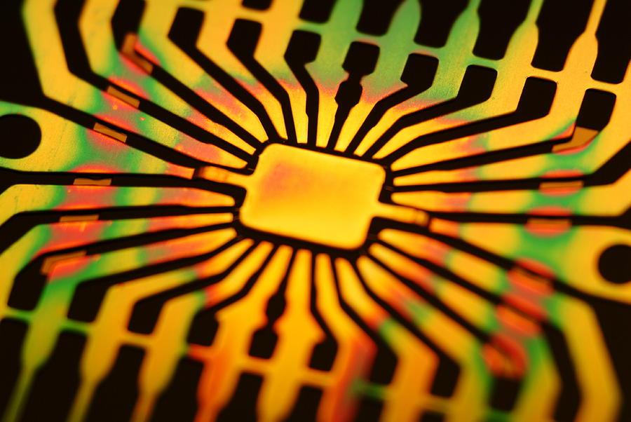 Microchip Photograph - Computer Microchip Circuit by Pasieka