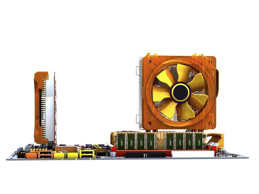 Artwork Photograph - Computer Motherboard, Artwork by Pasieka
