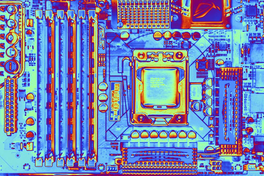 Art Product Photograph - Computer Motherboard With Core I7 Cpu by Pasieka