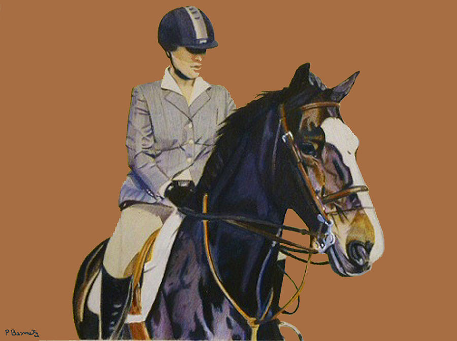 Hunter Painting - Concentration - Hunter Jumper Horse And Rider by Patricia Barmatz