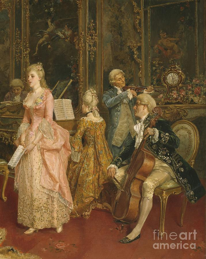 Clock Painting - Concert At The Time Of Mozart by Ettore Simonetti