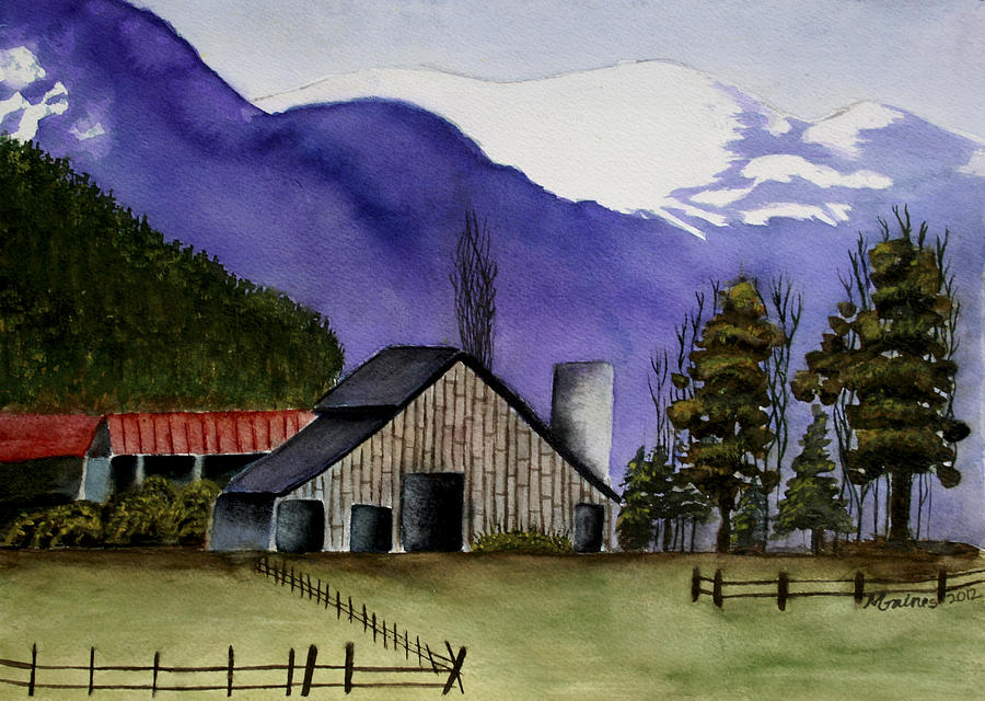 Barn Painting - Concrete Barn Watercolor by Mary Gaines