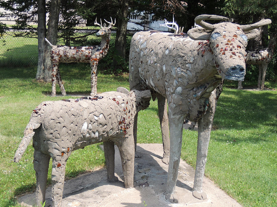 Phillips Photograph - Concrete Calf And Cow by Peg Toliver