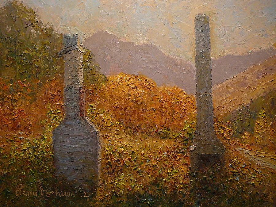 Impasto Painting - Concrete Tombstones by Terry Perham