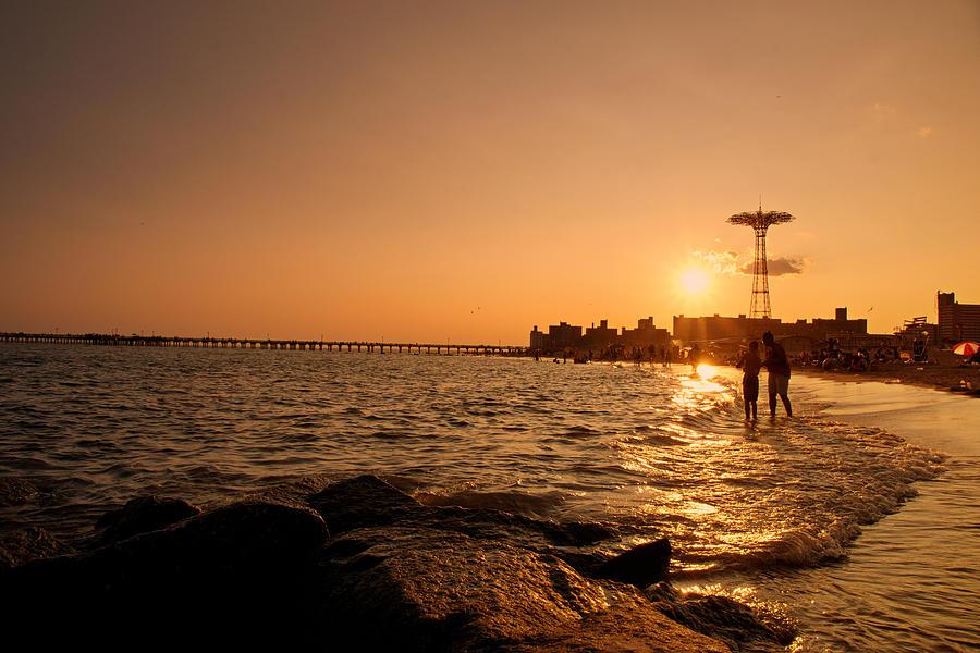 Sunset Photograph - Coney Island Beach Sunset - New York City by Vivienne Gucwa