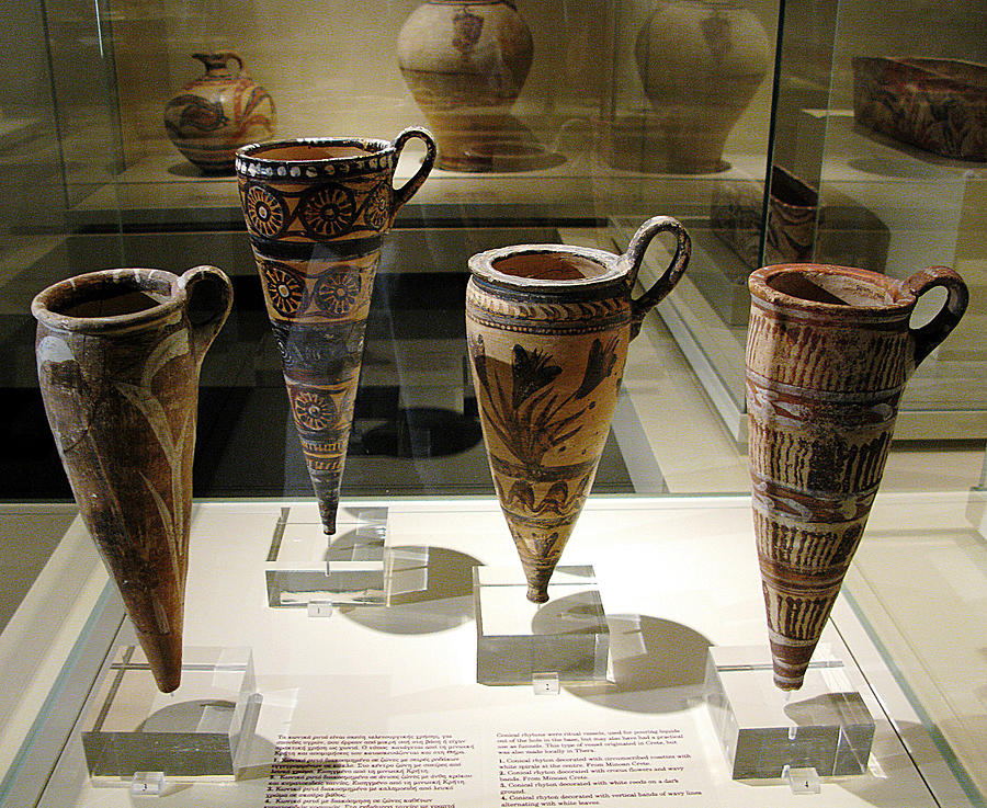 Minoan Pottery Photograph - Conical Rhytons by Andonis Katanos