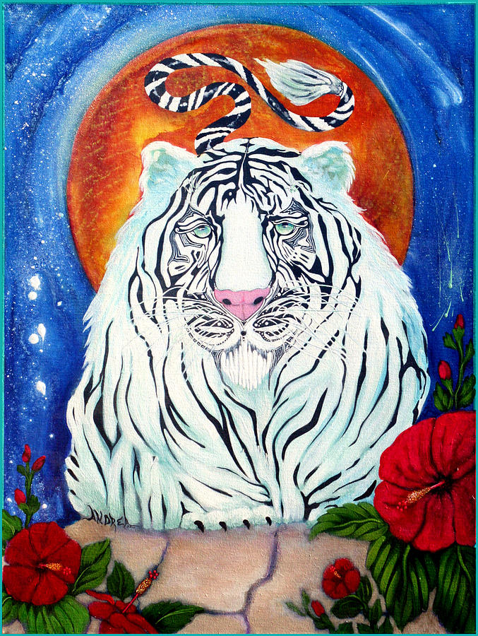 White Tiger Painting - Constant Companion by Andrea Camp