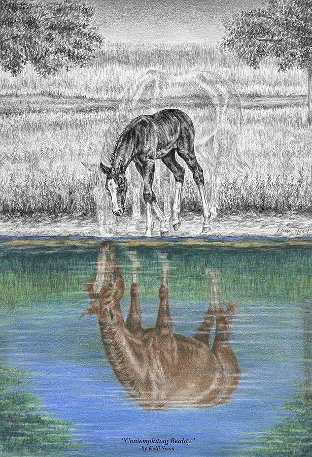 Mare Drawing - Contemplating Reality - Mare And Foal Horse Print by Kelli Swan