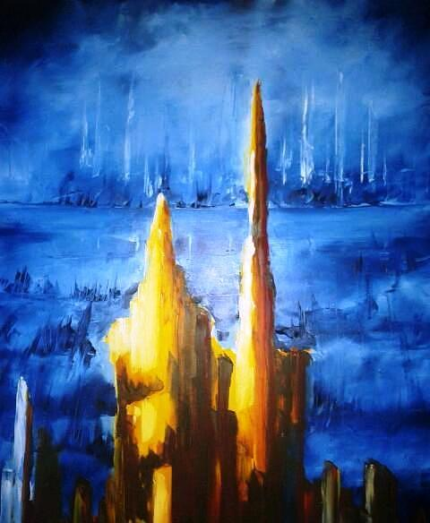 Blue Painting - Contemporary Art  by Izzeddin Elzoubi