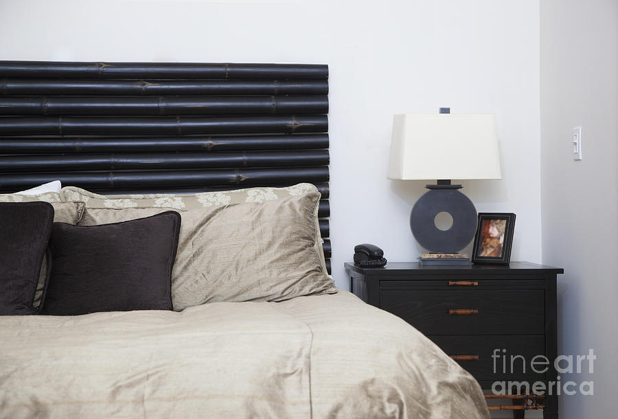 Bed Photograph - Contemporary Bed And Nightstand by Inti St. Clair