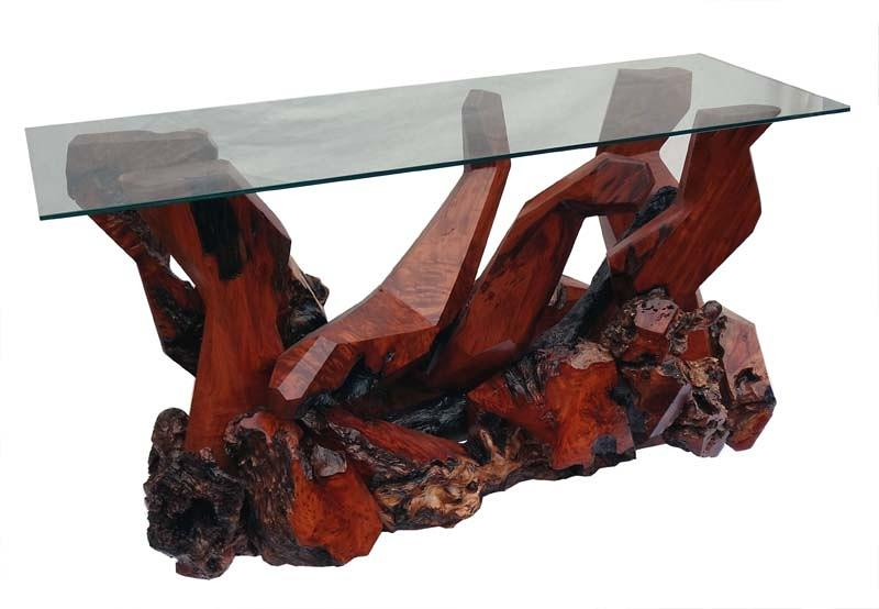 Console Tables Sculpture - Contemporary Redwood Glass Top Console Table Ds-19611 by Daryl Stokes
