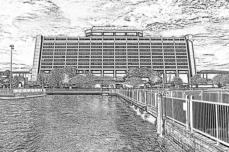 Contemporary resort digital art contemporary resort profile walt disney world prints black and white photocopy