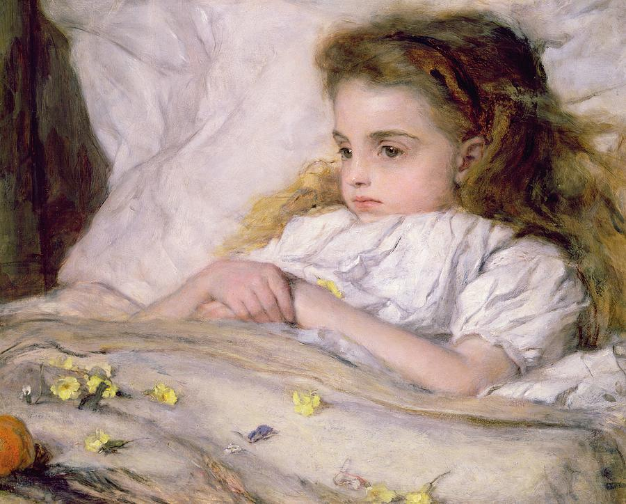 In Bed Painting - Convalescent by Frank Holl