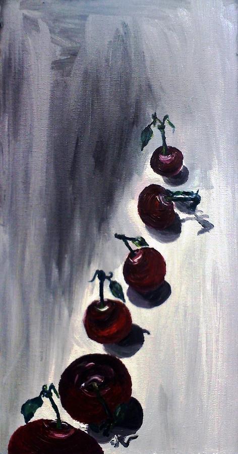 Cherries Painting - Conversation With Cherries  by Leslye Miller